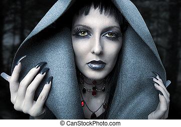 retrato, halloween., feiticeira, moda