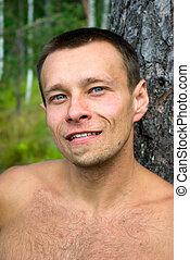 retrato, hombre adulto joven