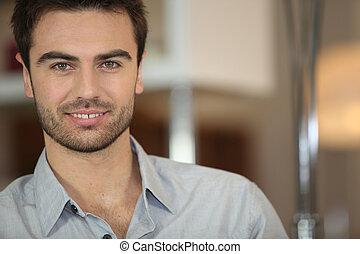 retrato, hombre, haired oscuridad, guapo