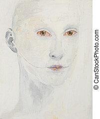 retrato, hombre, pintura al óleo, extraño