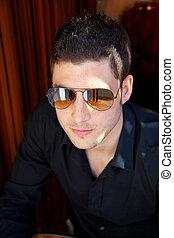 retrato, homem, óculos de sol, jovem, bonito