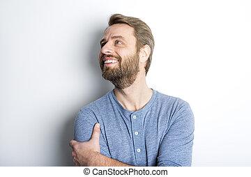 retrato, homem, barba