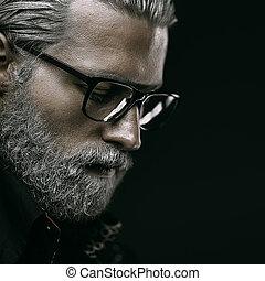 retrato, homem, haired, cinzento