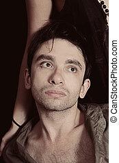 retrato, homem, jovem, bonito