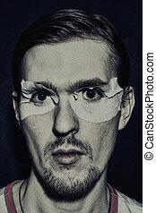 retrato, homem, jovem, estranho