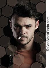 retrato, homem jovem, fumar