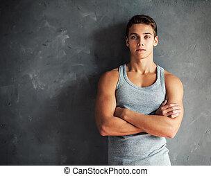 retrato, homem, jovem, muscular, bonito