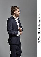 retrato, homem negócios, jovem, bonito