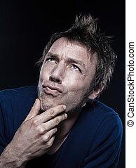retrato, homem, pucker, pensativo, engraçado