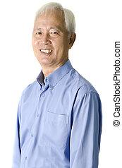 retrato, homem, sênior, asiático, businss