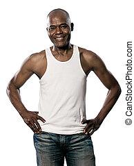 retrato, homem sorridente, cintura, mãos