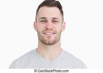 retrato, homem sorridente, close-up, jovem