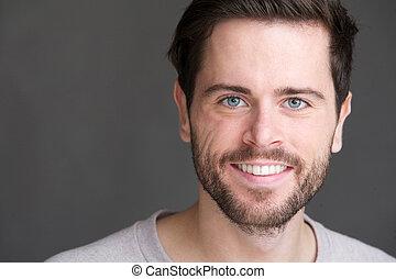 retrato, homem sorridente, jovem, charming