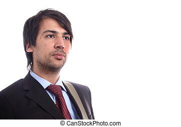 retrato, homens, jovem, negócio, white.