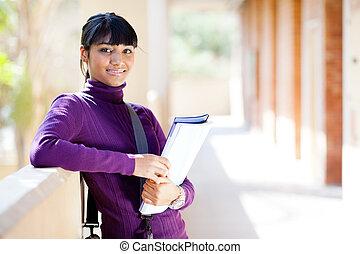 retrato, indianas, faculdade, aluno feminino