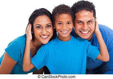 retrato, indio, familia