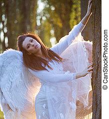 retrato, inocente, anjo