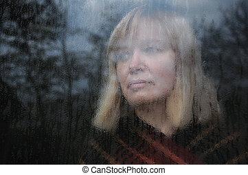 retrato, janela, mulher, através