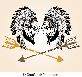 retrato, jefe, dos, indios