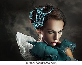 retrato, jovem, beleza