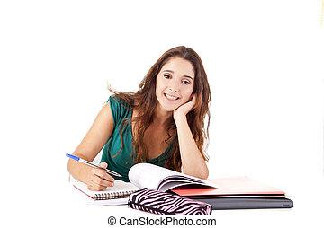 retrato, jovem, estudante, feliz