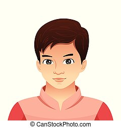 retrato, jovem, ilustração, homem