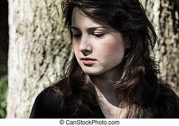 retrato, jovem, mulher, triste