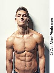 retrato, jovem, muscular, homem