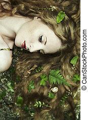 retrato, jovem, sensual, jardim, mulher, moda