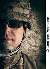 retrato, jovem, soldado
