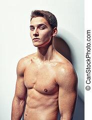 retrato, joven, muscular, hombre