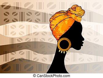 retrato, kente, batik, colorido, étnico, turban., hermoso, ankara, cabeza, tela, vector, headwrap, viejo, woman., headtie, plano de fondo, envuelve, africano, diseño, shenbolen, bufanda, afro, tradicional, mujeres, texture.
