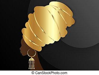 retrato, kente, turbante, étnico, hermoso, cabeza, oro, silueta, vector, aislado, fondo dorado, africano, negro, dashiki, envolver, mujer, africano, afro, tradicional, mujeres, pendiente