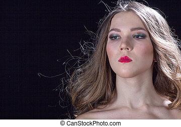 retrato, lábios, mulher, vermelho