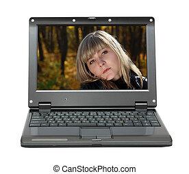 retrato, laptop, menina, beleza