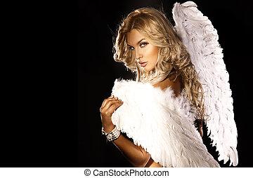 retrato, loiro, angel., deslumbrante