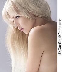 retrato, loiro, beleza