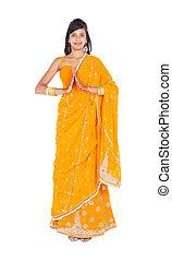 retrato, longitud, mujer, indio, lleno