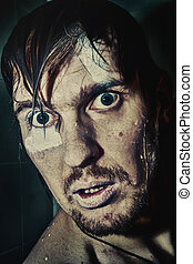 retrato, loucos, homem, olhos, molhados