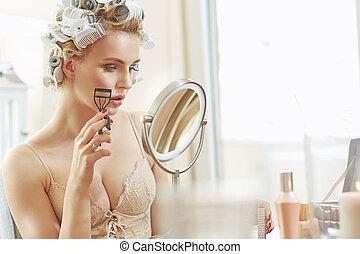 retrato, loura, mulher closeup, bonito