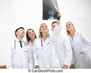 Retrato, médico, Feliz, equipe