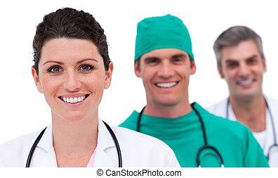 retrato, médico, luminoso, equipe