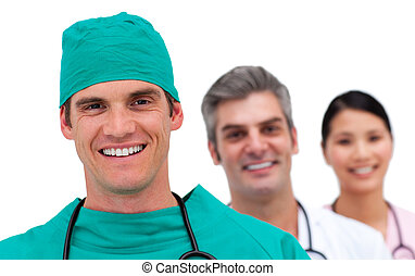 retrato, médico, multi-étnico, equipe