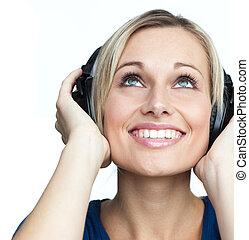 retrato, música, menina, escutar, fones