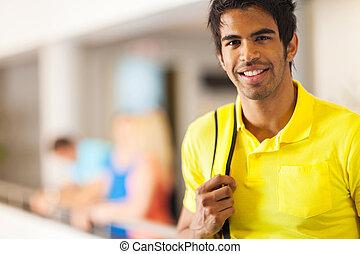 retrato, macho, faculdade, indianas, estudante