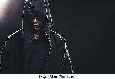 retrato, manto, homem preto