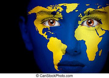 retrato, mapa, mulher, mundo