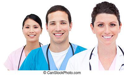 retrato, medicam, equipe