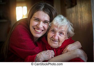 retrato menina, abraçando, dela, avó.