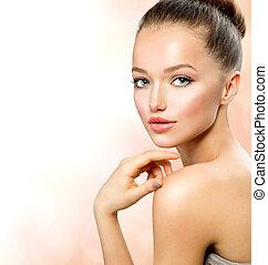 retrato, menina adolescente, beleza